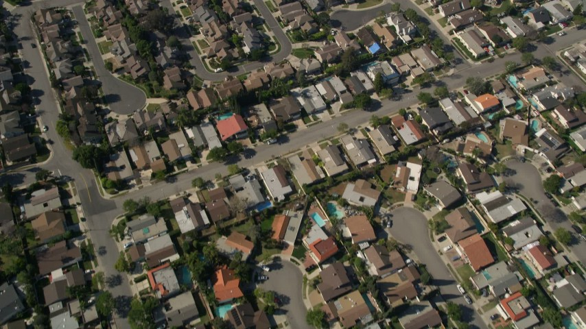 5K stock footage aerial video of a bird's eye view of residential neighborhoods, Costa Mesa, California Aerial Stock Footage | AX0016_089