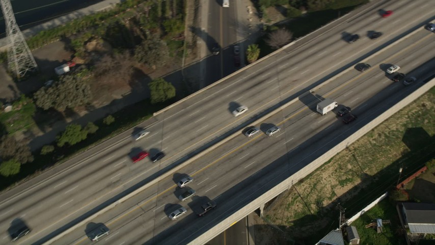 5K stock footage aerial video of tracking traffic on Interstate 405, Carson, California Aerial Stock Footage | AX0017_015