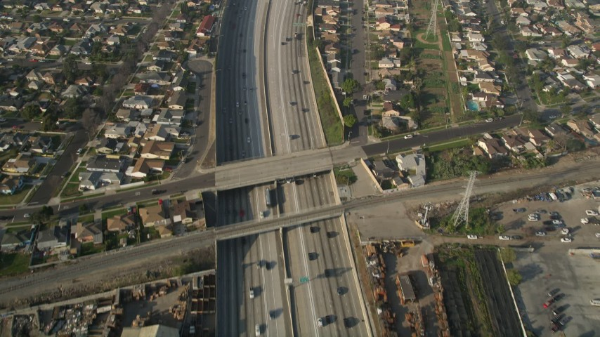 5K stock footage aerial video of following Interstate 110 along residential area, Gardena, California Aerial Stock Footage | AX0017_030E