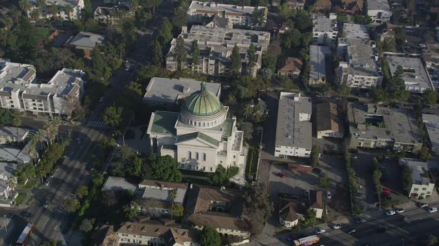 5K aerial video of orbiting Second Church of Christ Scientist, Los Angeles, California Aerial Stock Footage | AX0017_052