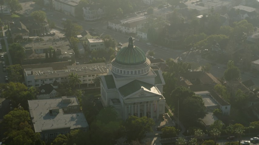 5K aerial video of flying away from the Second Church of Christ Scientist; Los Angeles, California Aerial Stock Footage | AX0017_053