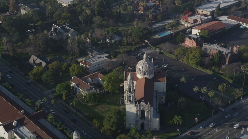 5K aerial video of orbiting St. Vincent Catholic Church, Los Angeles, California Aerial Stock Footage | AX0017_055