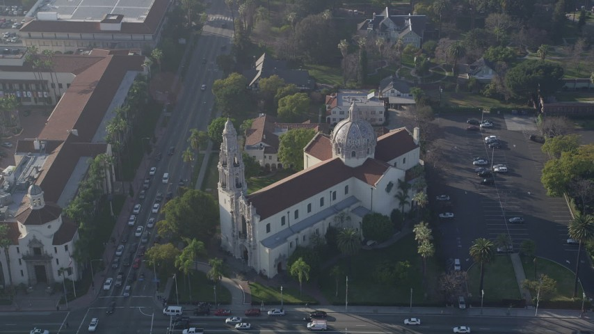 5K aerial video of orbiting St. Vincent Catholic Church, Los Angeles, California Aerial Stock Footage | AX0017_056