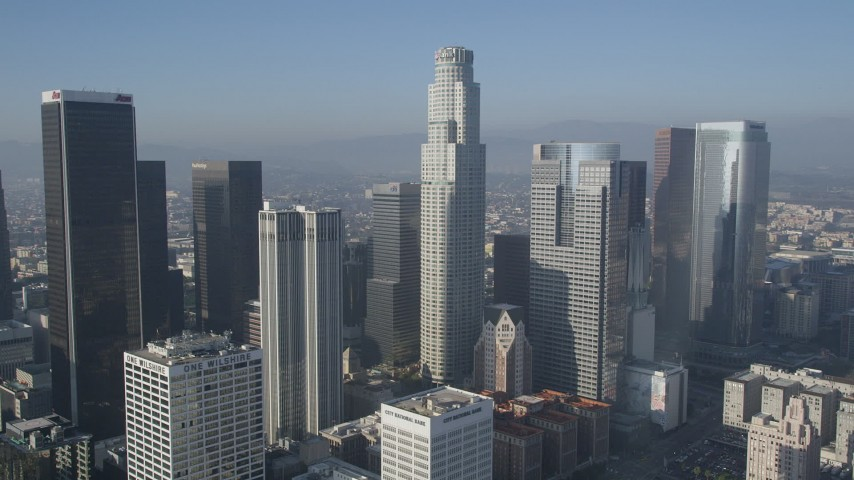 5K stock footage aerial video of orbiting skyscrapers and US Bank Tower, Downtown Los Angeles, California Aerial Stock Footage | AX0017_064