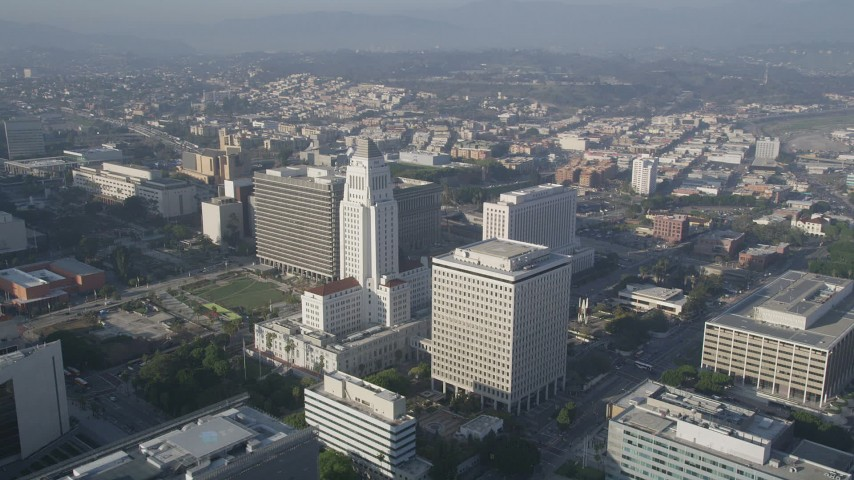 5K stock footage aerial video of orbiting City Hall, Downtown Los Angeles, California Aerial Stock Footage | AX0017_065