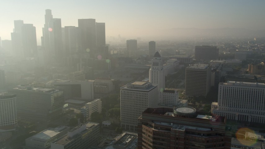 5K stock footage aerial video of orbiting City Hall, reveal skyline of Downtown Los Angeles, California Aerial Stock Footage | AX0017_065E