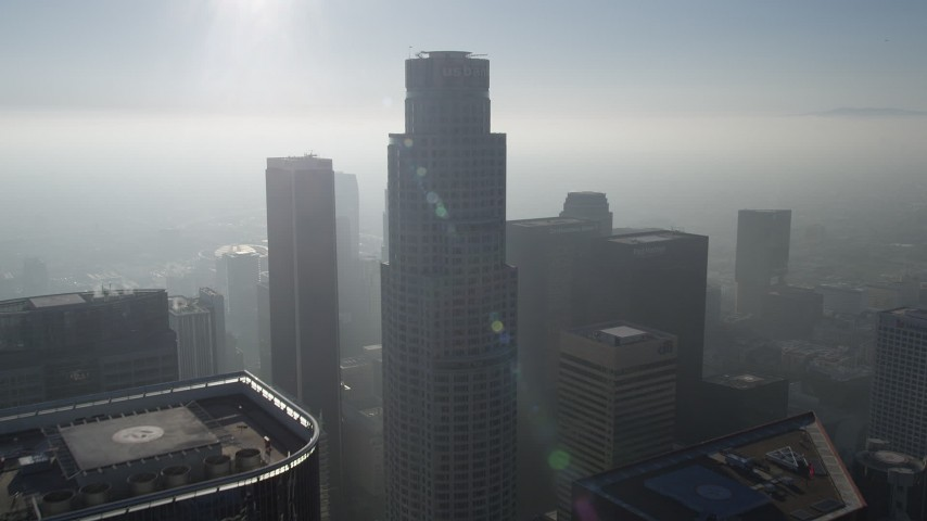 5K stock footage aerial video fly over US Bank Tower and tilt down on skyscrapers, Downtown Los Angeles Aerial Stock Footage | AX0017_069