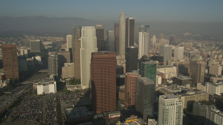 5K stock footage aerial video of orbiting Ritz Carlton revealing skyscrapers, Downtown Los Angeles Aerial Stock Footage | AX0017_071E