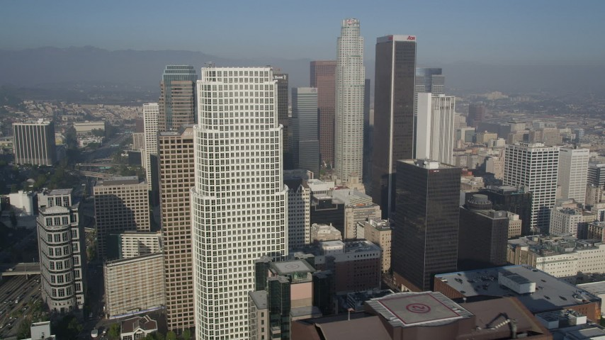 5K stock footage aerial video of approaching skyscrapers, Downtown Los Angeles, California Aerial Stock Footage | AX0017_072