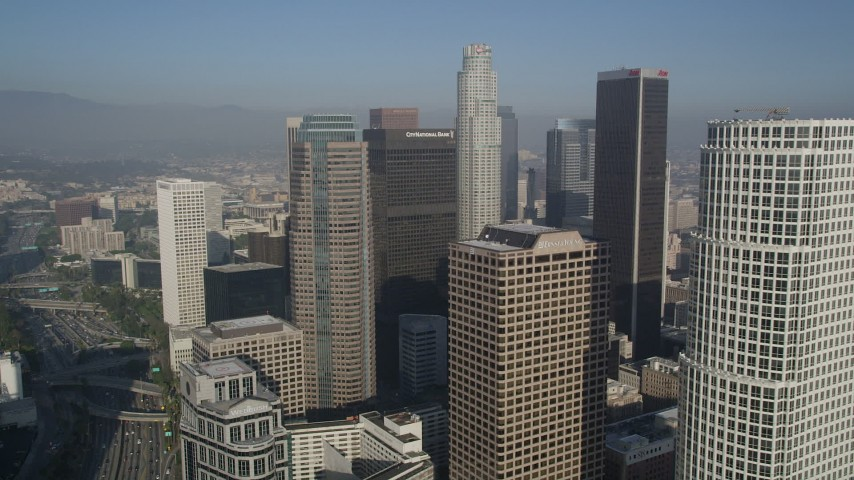 5K aerial video fly by skyscrapers, Downtown Los Angeles, California Aerial Stock Footage | AX0017_073
