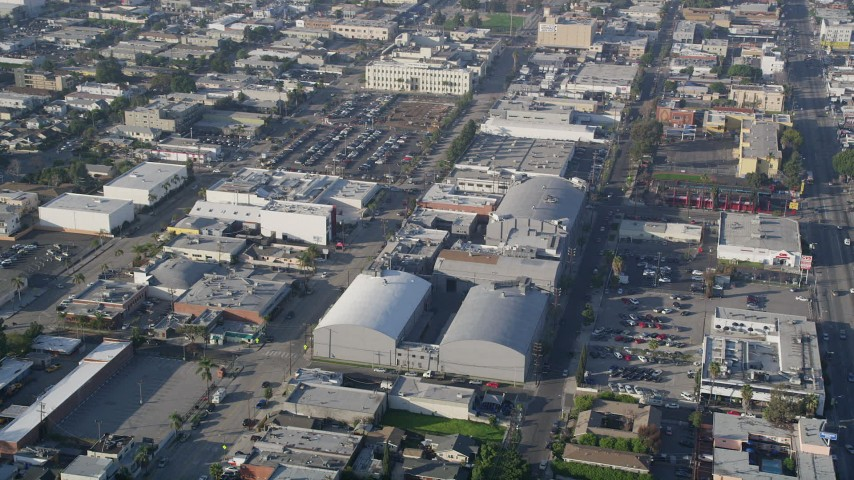 5K stock footage aerial video of approaching Ren-Mar Studios, Hollywood, California Aerial Stock Footage | AX0017_077