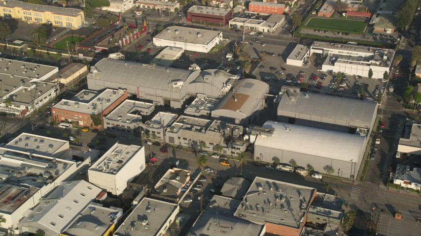 5K stock footage aerial video of orbiting Ren-Mar Studios, Hollywood, California Aerial Stock Footage | AX0017_079