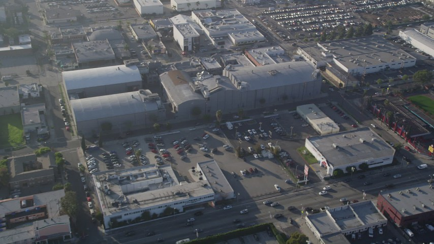 5K stock footage aerial video of an orbit of Ren-Mar Studios, Hollywood, California Aerial Stock Footage | AX0017_081