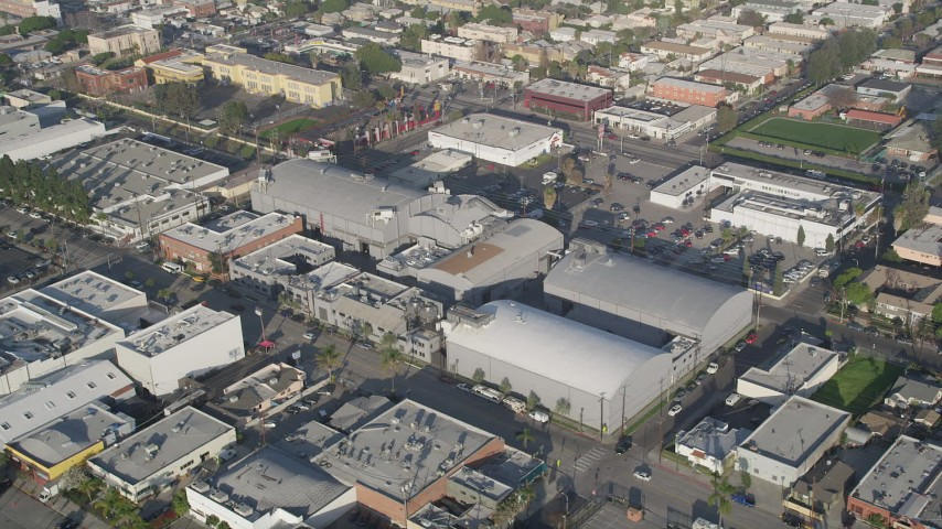 5K stock footage aerial video of circling Ren-Mar Studios, Hollywood, California Aerial Stock Footage | AX0017_082