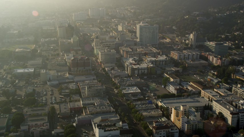 5K aerial video fly by Hollywood Boulevard, Hollywood, California Aerial Stock Footage | AX0017_084