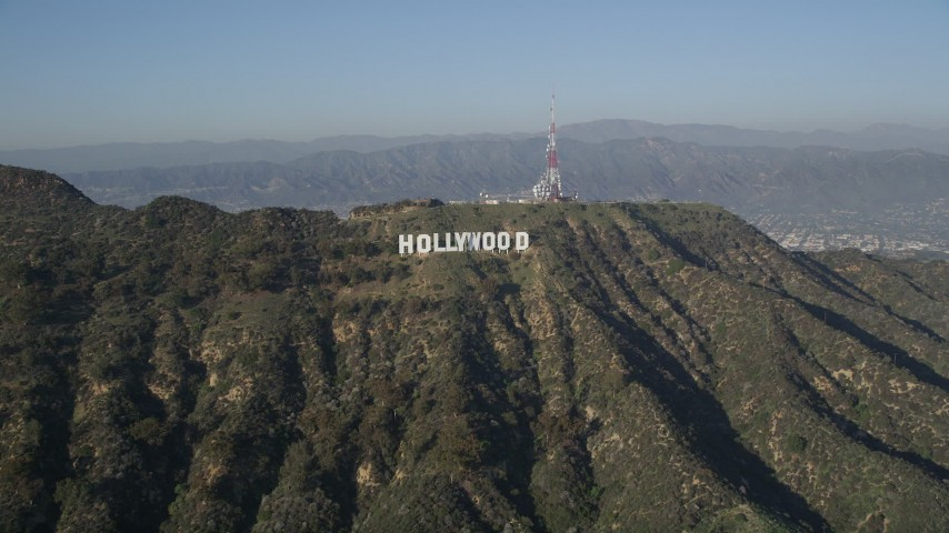 5K stock footage aerial video approach Hollywood Sign, Hollywood, California Aerial Stock Footage | AX0017_088