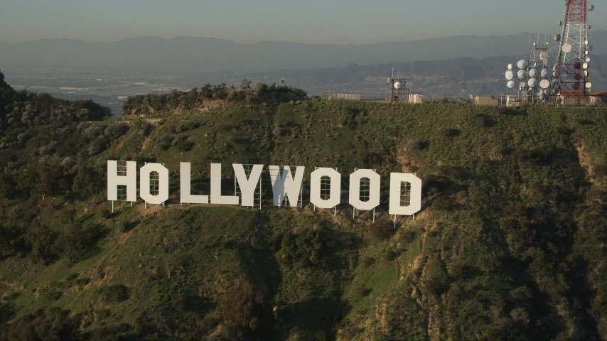 5K stock footage aerial video of orbiting the Hollywood Sign, Hollywood, California Aerial Stock Footage AX0017_091 | Axiom Images