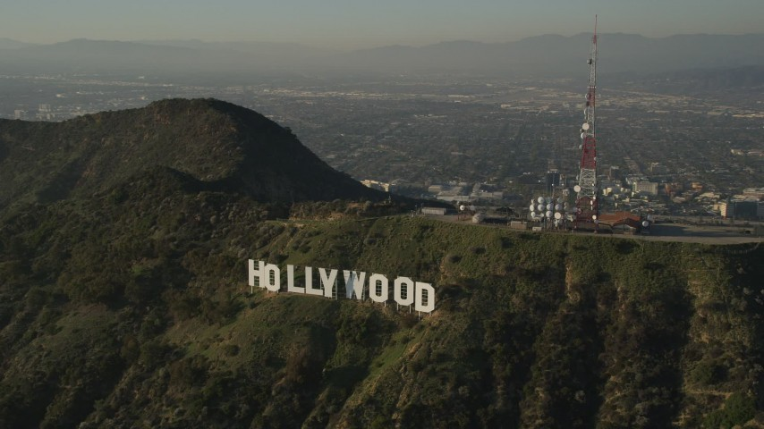 5K stock footage aerial video of orbiting Hollywood Sign, Hollywood, California Aerial Stock Footage | AX0017_096