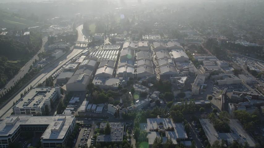 5K stock footage aerial video of Warner Brothers Studio, Burbank, California Aerial Stock Footage | AX0017_099