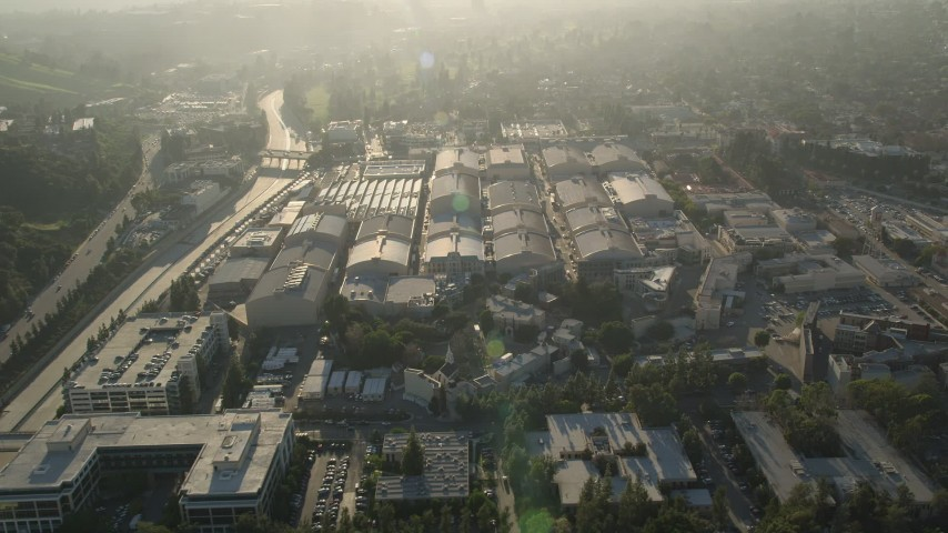 5K stock footage aerial video of Warner Brothers Studio, Burbank, California Aerial Stock Footage | AX0017_099E