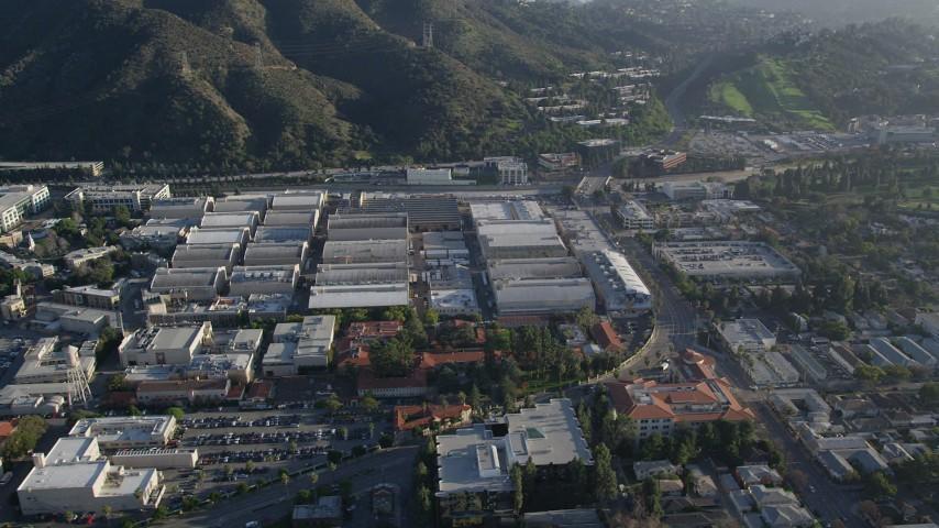 5K stock footage aerial video of orbiting Warner Brothers Studios, Burbank, California Aerial Stock Footage | AX0017_101