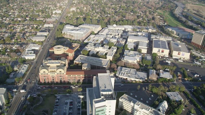 5K stock footage aerial video of orbiting Walt Disney Company studios, Burbank, California Aerial Stock Footage | AX0017_104