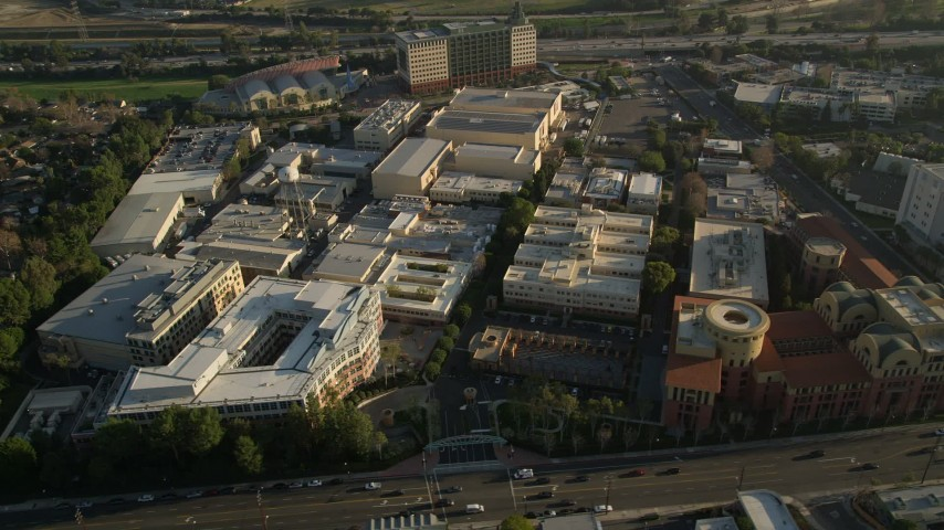 5K stock footage aerial video of orbiting Walt Disney Company studios, Burbank, California Aerial Stock Footage | AX0017_105