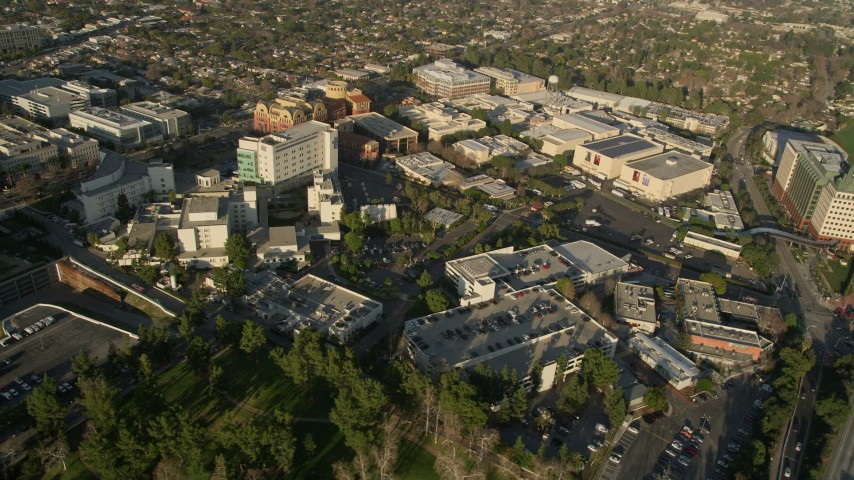 5K stock footage aerial video of orbiting Walt Disney Company studios, Burbank, California Aerial Stock Footage | AX0017_107
