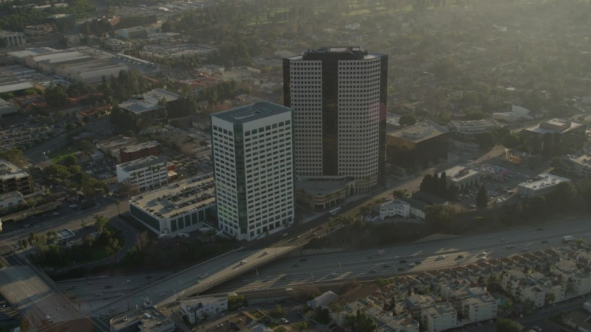 5K stock footage aerial video of office buildings and freeways, Burbank, California Aerial Stock Footage | AX0017_108