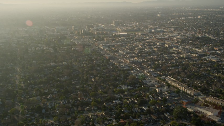 5K stock footage aerial video of fly over residential neighborhoods, North Hollywood, California Aerial Stock Footage | AX0017_109