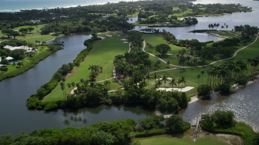 5K stock footage aerial video flyby Jupiter Island Golf Club in Hobe Sound, Florida  Aerial Stock Footage | AX0019_018