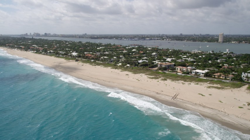 5K stock footage aerial video of beach and coastal neighborhoods in Palm Beach, Florida Aerial Stock Footage | AX0019_052