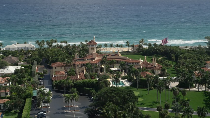 5K stock footage aerial video of Mar-A-Lago estate with an ocean view, Palm Beach, Florida Aerial Stock Footage | AX0019_068