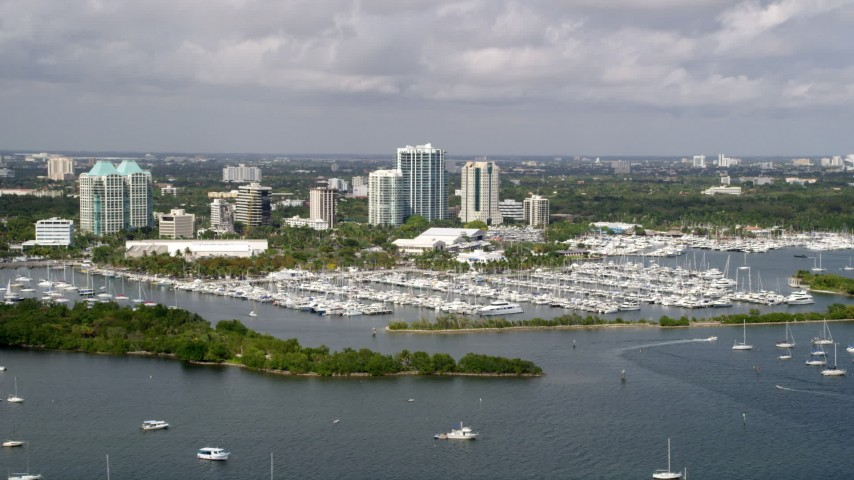 5K stock footage aerial video of boats docked at Dinner Key Marina in Coconut Grove, Florida Aerial Stock Footage | AX0020_003