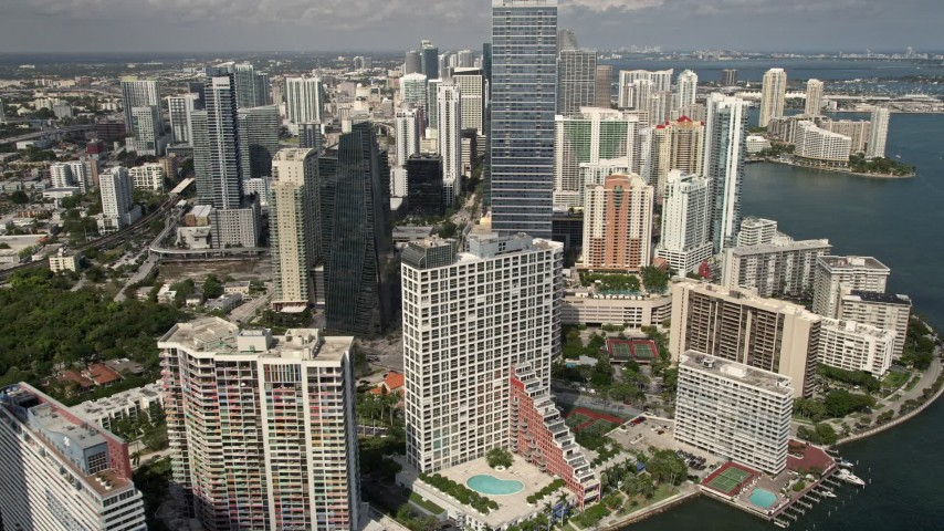 5K stock footage aerial video of bayfront condominium complexes in Downtown Miami, Florida Aerial Stock Footage | AX0020_021