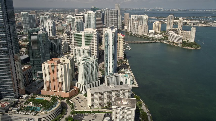 5K stock footage aerial video of Jade at Brickell Bay skyscraper in Downtown Miami, Florida Aerial Stock Footage | AX0020_022