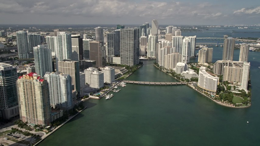 5K stock footage aerial video of Downtown Miami and Brickell Key skyscrapers in Florida Aerial Stock Footage | AX0020_023