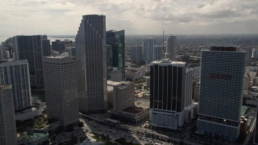 5K stock footage aerial video of Southeast Financial Center skyscraper in Downtown Miami, Florida Aerial Stock Footage | AX0020_028