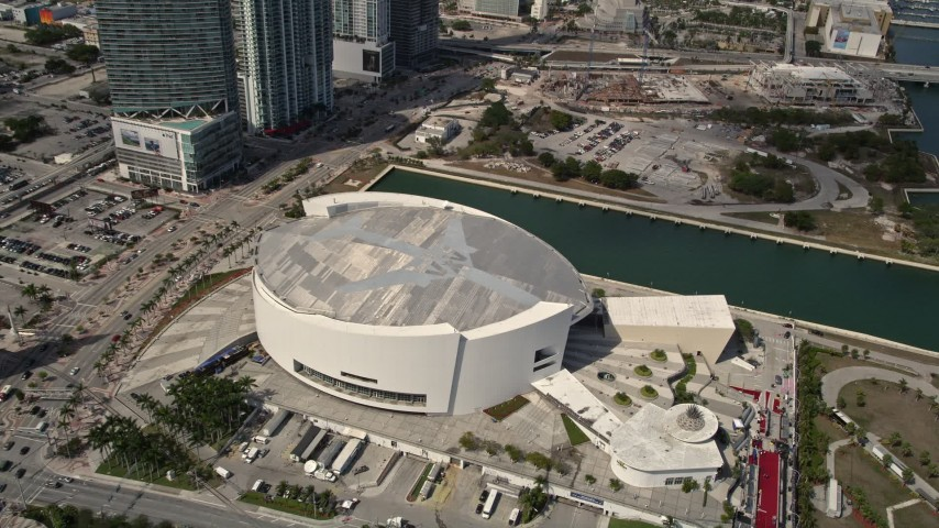 5K stock footage aerial video approach American Airlines Arena in Downtown Miami, Florida Aerial Stock Footage | AX0020_029