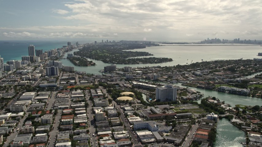 5K stock footage aerial video of islands by the coastal community of Miami Beach, Florida Aerial Stock Footage | AX0020_098