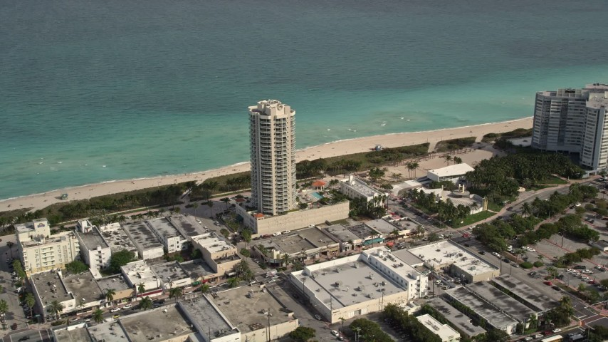 5K aerial video of beachfront condominium complex in Miami Beach, Florida Aerial Stock Footage | AX0021_021