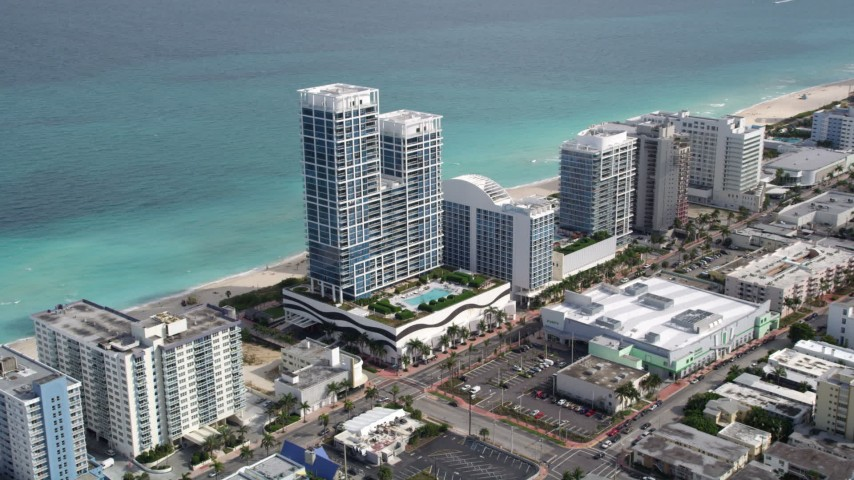5K stock footage aerial video of an oceanfront hotel in Miami Beach, Florida Aerial Stock Footage | AX0021_022