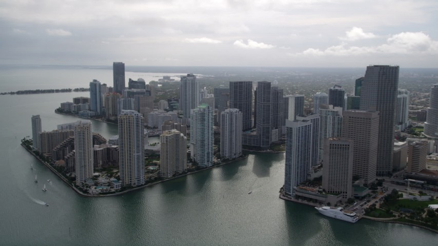 5K stock footage aerial video approach the coastal city of Downtown Miami, Florida Aerial Stock Footage | AX0021_079