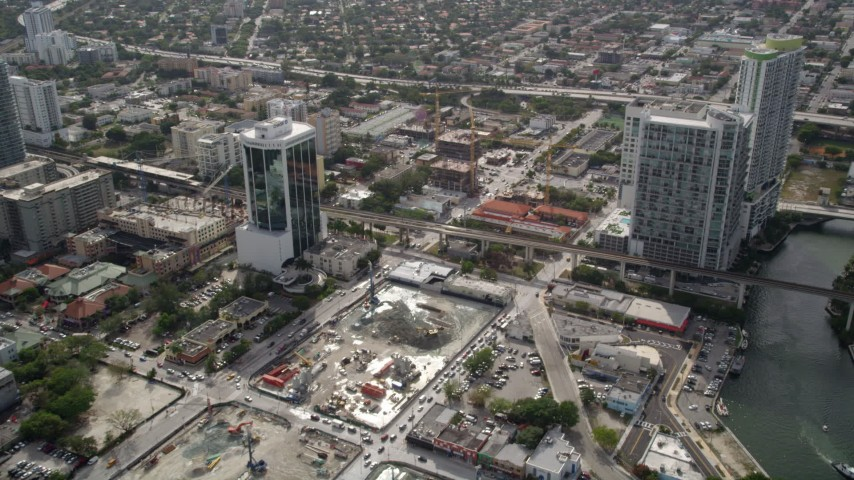 5K aerial video flyby Icon Brickell toward 500 Brickell in Downtown Miami, Florida Aerial Stock Footage | AX0021_081