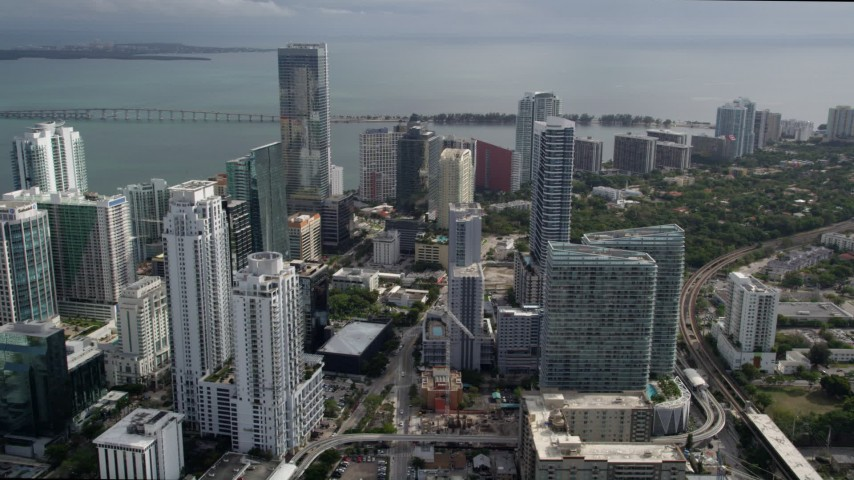 5K stock footage aerial video of Downtown Miami skyscrapers around the Four Seasons Hotel high-rise, Florida Aerial Stock Footage | AX0021_082