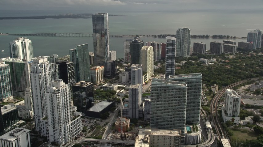 5K stock footage aerial video of Downtown Miami skyscrapers around the Four Seasons Hotel high-rise, Florida Aerial Stock Footage | AX0021_082E