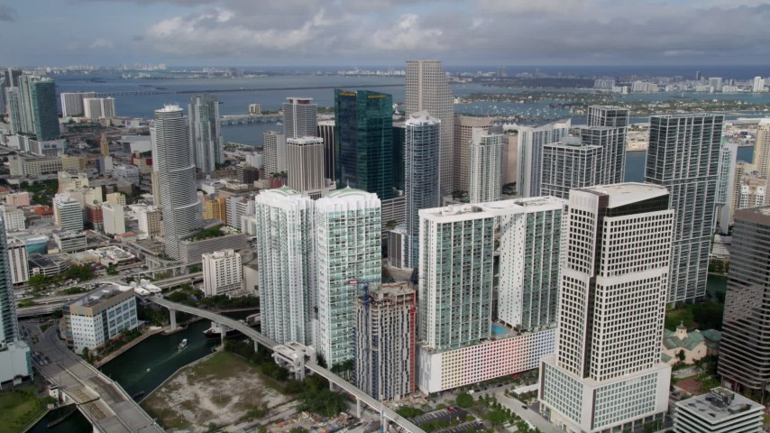 5K stock footage aerial video approach modern high-rises and hotel in Downtown Miami, Florida Aerial Stock Footage | AX0021_089