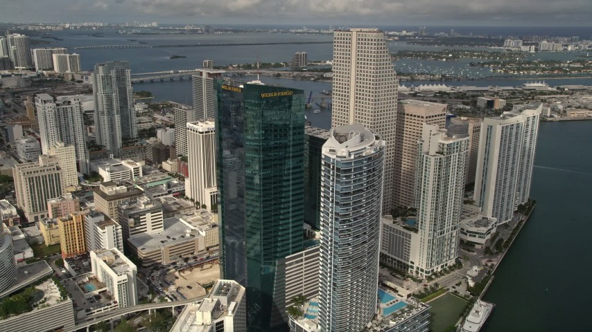 5K stock footage aerial video approach modern high-rises and hotel in Downtown Miami, Florida Aerial Stock Footage | AX0021_089E