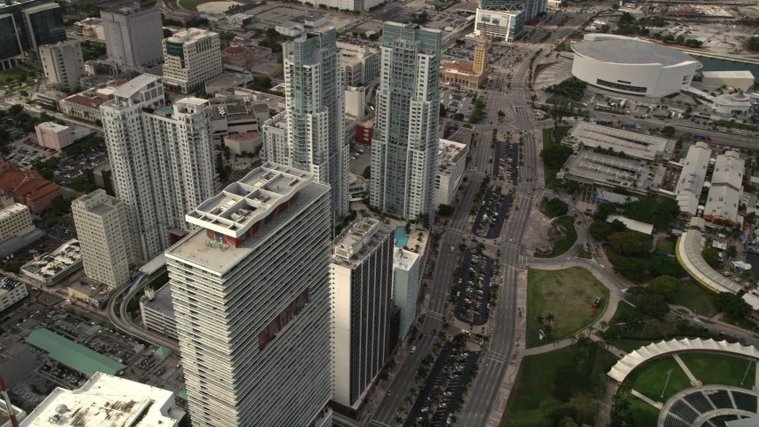 5K stock footage aerial video flyby parkside skyscrapers in Downtown Miami, Florida Aerial Stock Footage | AX0021_093