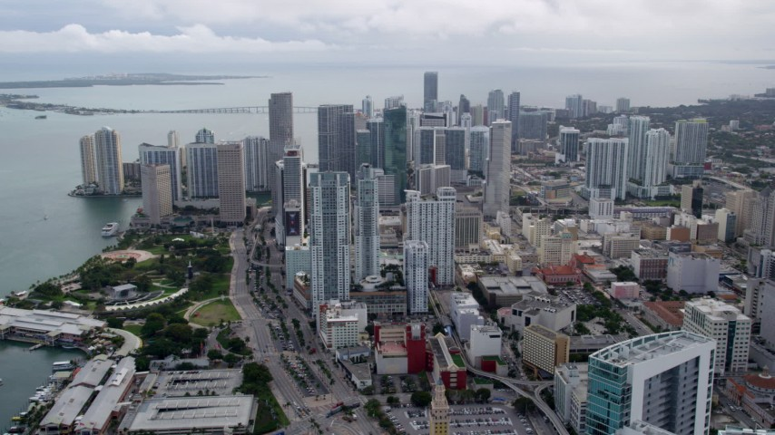 5K stock footage aerial video approach bayfront skyscrapers in Downtown Miami, Florida Aerial Stock Footage | AX0021_097